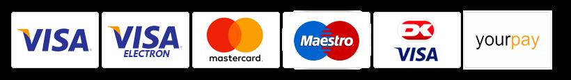 Vi tager imod disse betalingskort